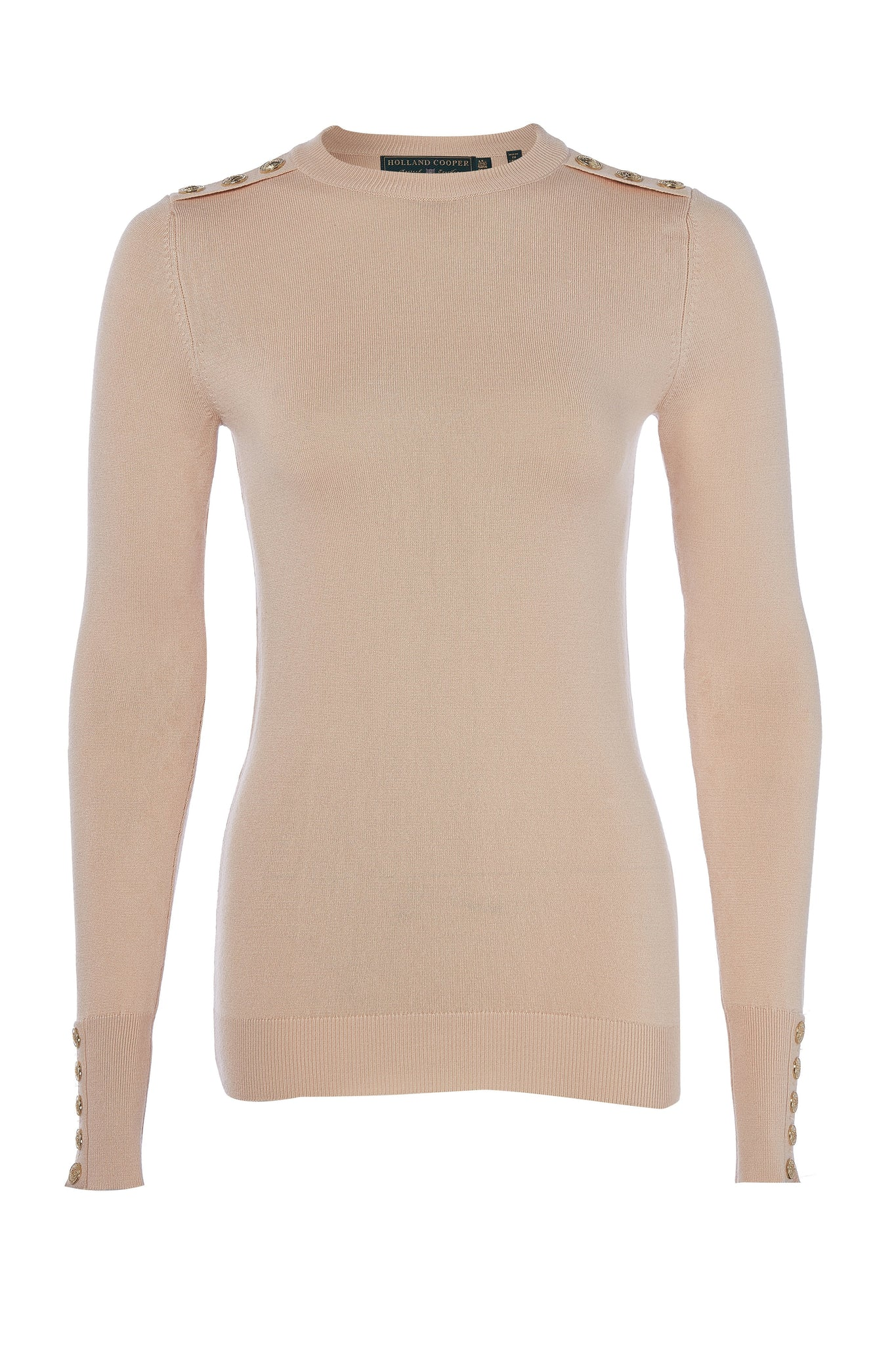 Buttoned Knit Crew Neck (Light Camel Marl)