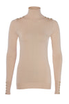 Buttoned Knit Roll Neck (Light Camel Marl)