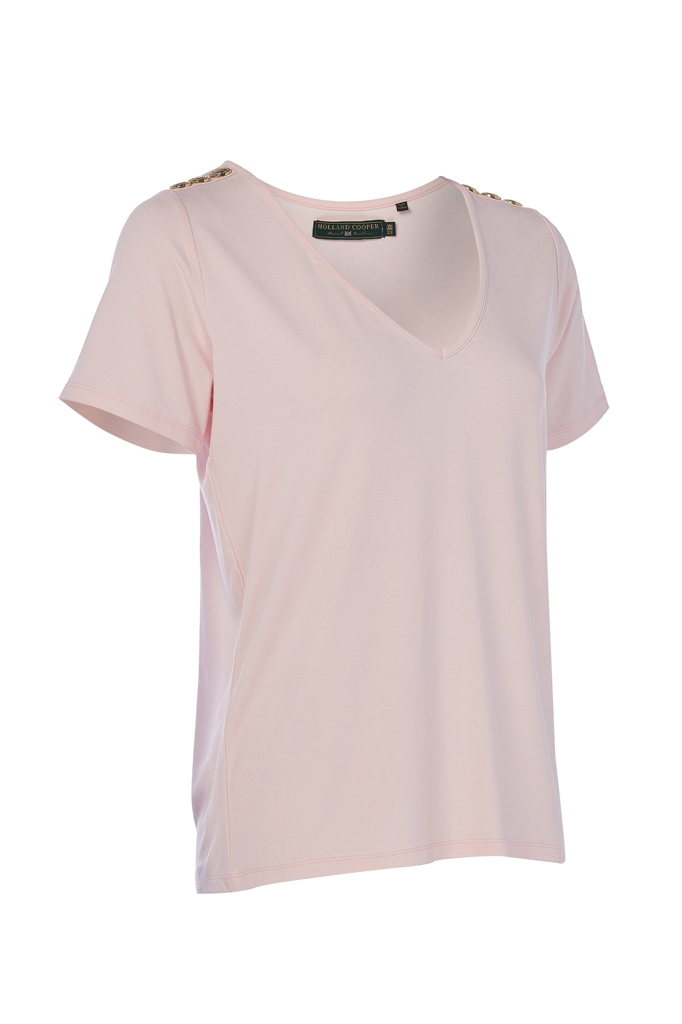 Relax Fit Vee Neck Tee (Ice Pink Marl)