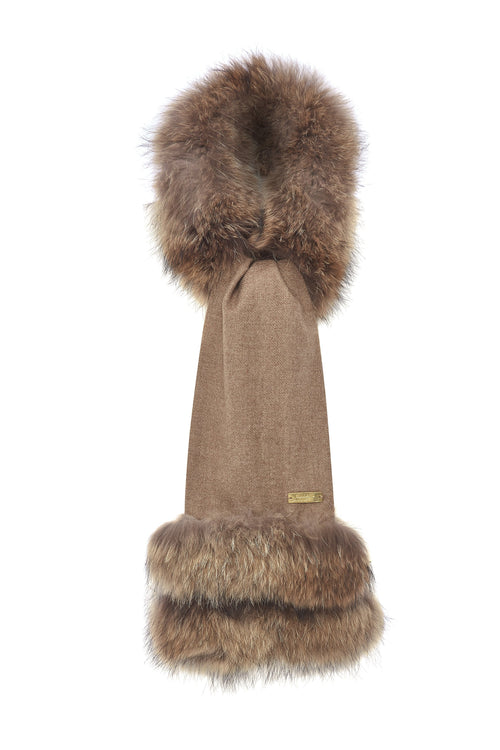 Tweed and Fur Scarf (Camel)