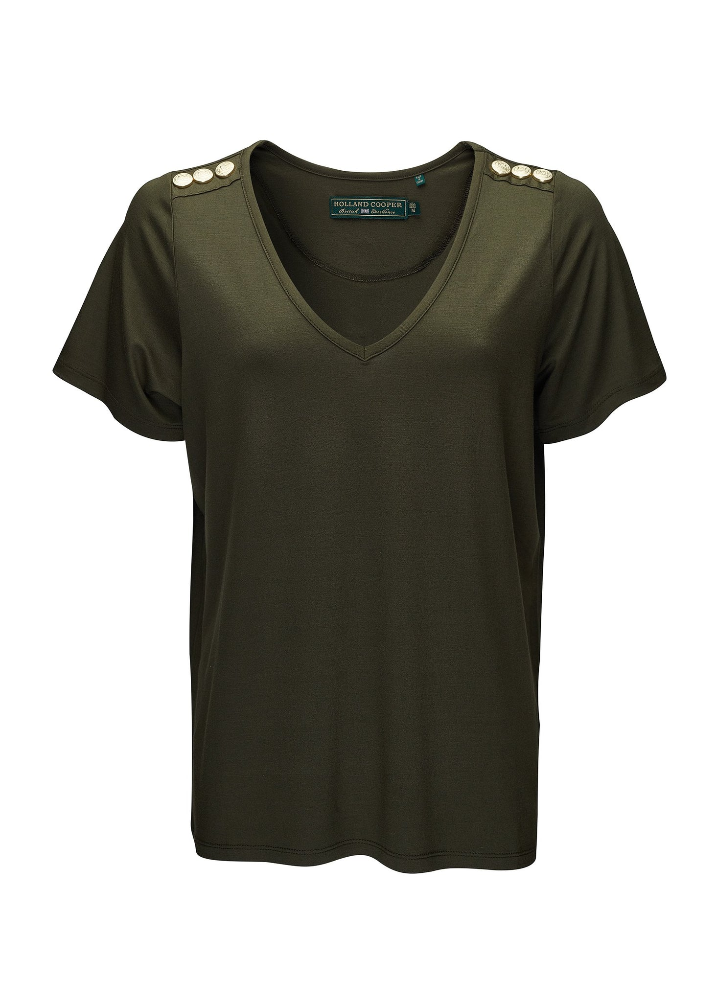 Relax Fit Vee Neck Tee (Khaki)