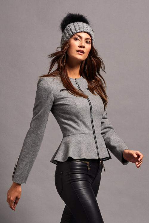 Peplum Jacket (Light Grey Cashmere Blend)