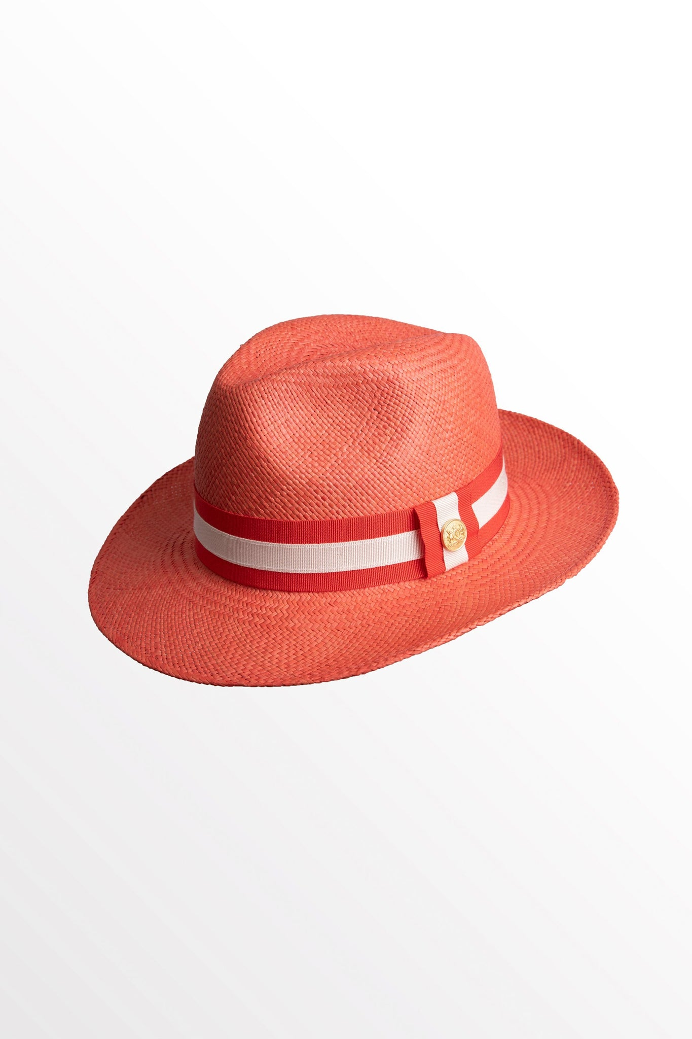 Panama Hat (Coral with Red/White)