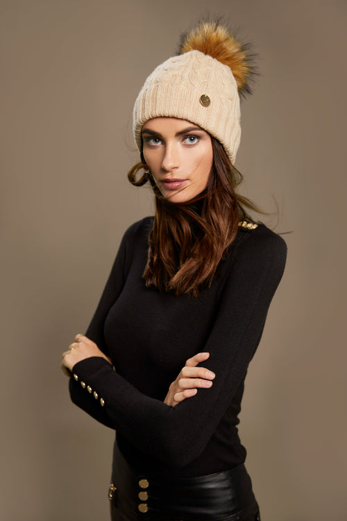 Cashmere Cable Knit Bobble Hat (Oatmeal)