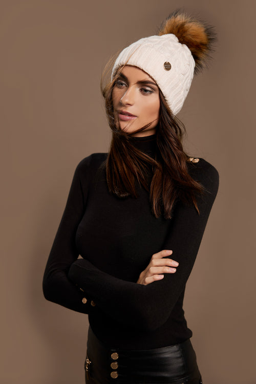 Cashmere Cable Knit Bobble Hat (Cream)