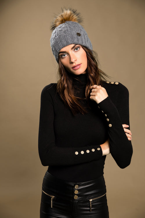 Cashmere Cable Knit Bobble Hat (Charcoal)