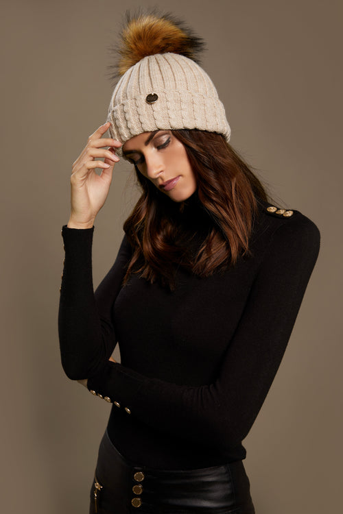 Wool Blend Cable Knit Bobble Hat (Stone)