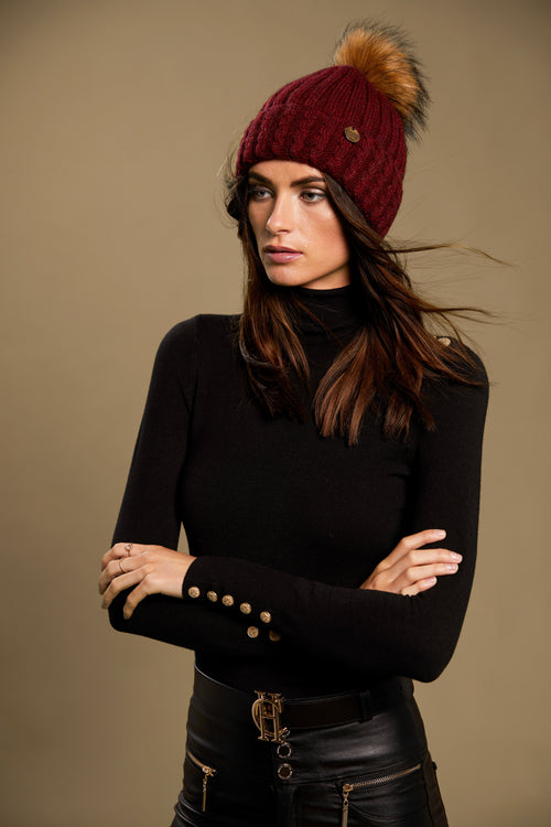 Wool Blend Cable Knit Bobble Hat (Red)
