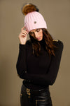 Acrylic Cable Knit Bobble Hat (Bright Baby Pink)