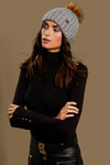 Wool Blend Cable Knit Bobble Hat (Grey)
