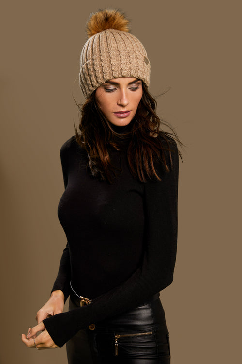 Wool Blend Cable Knit Bobble Hat (Oatmeal)