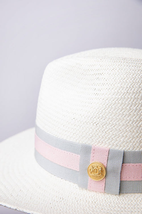 Panama Hat (Cream with Grey/Pink)