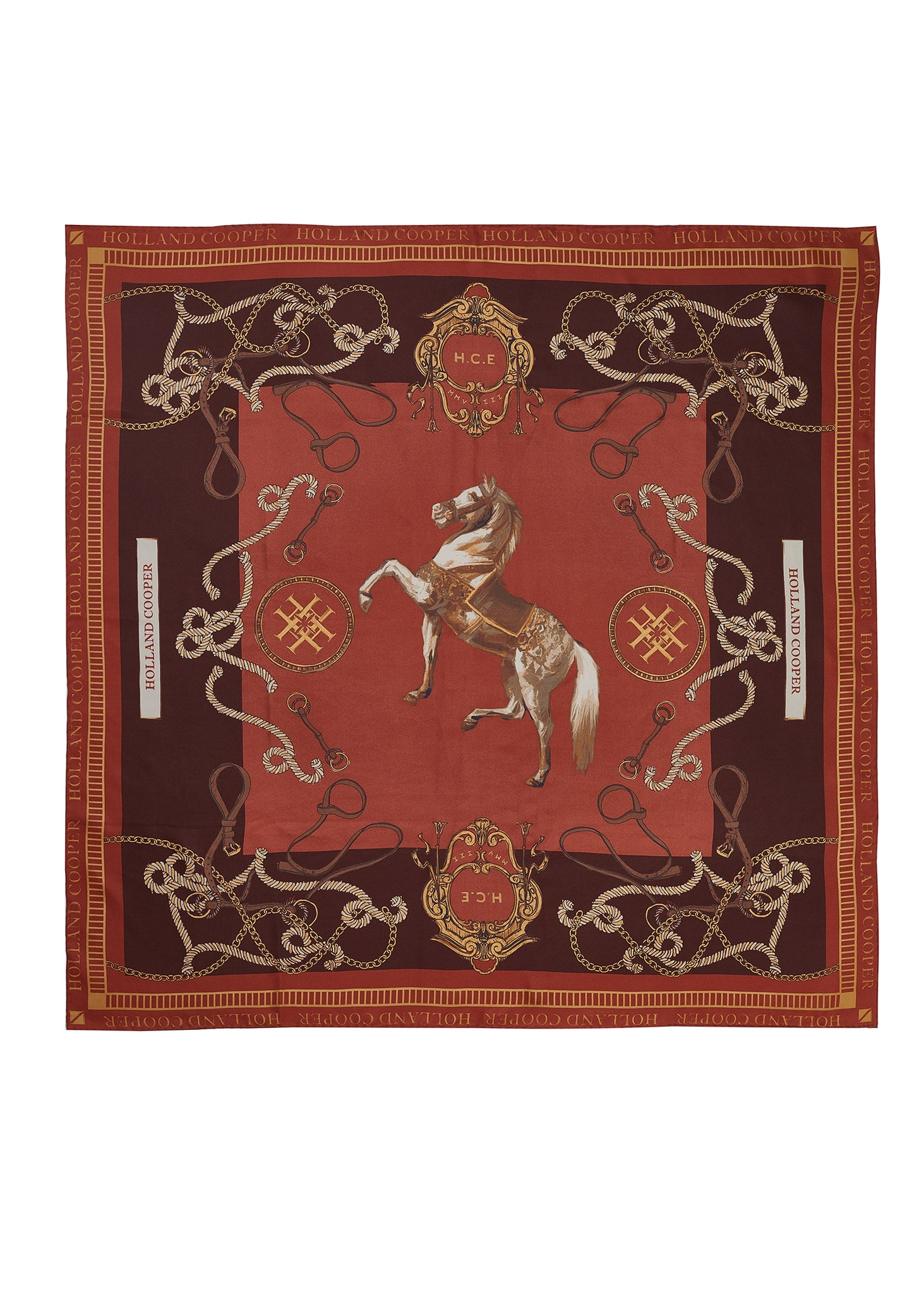 Regal Horse Silk Scarf (Caramel)