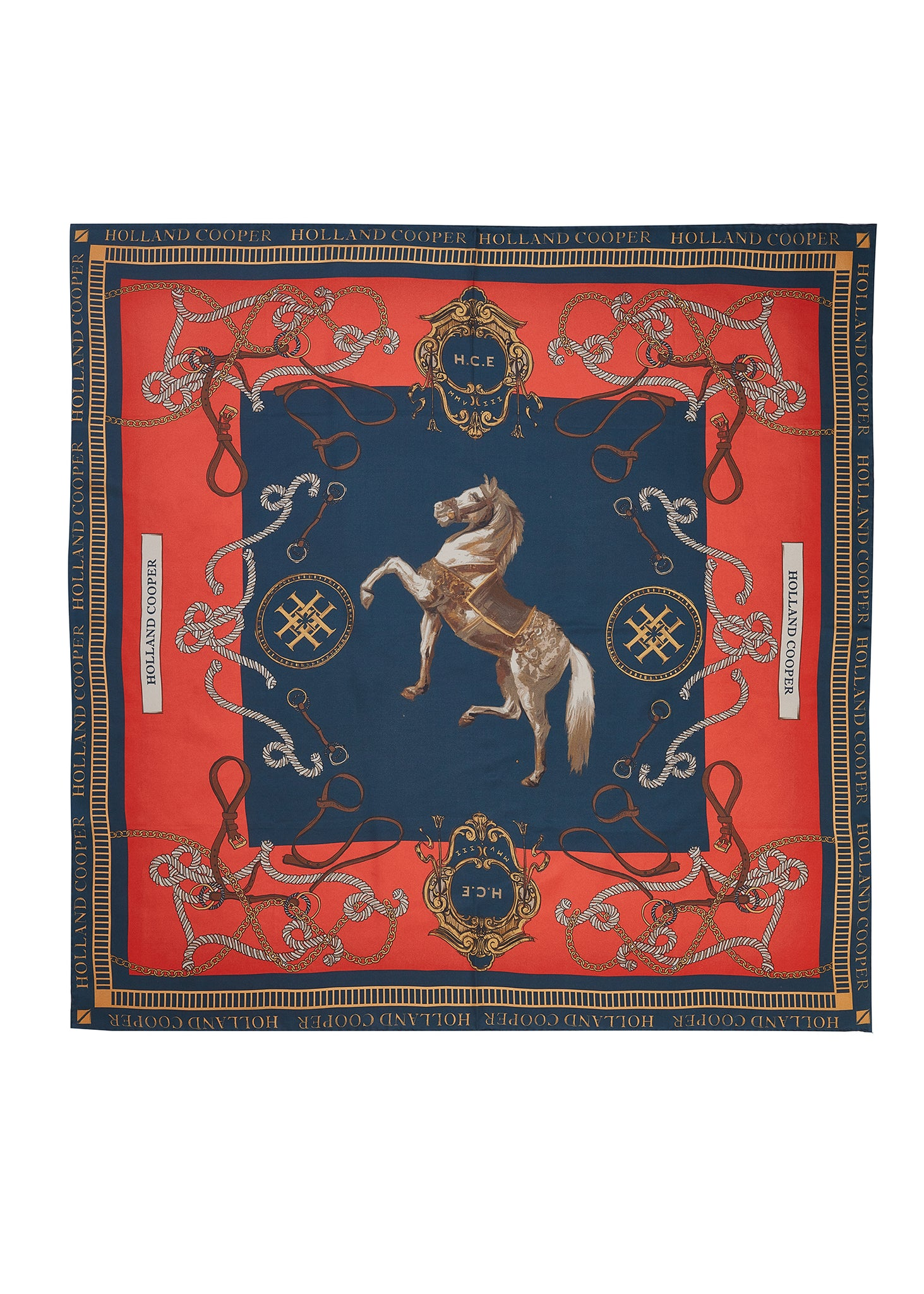 Regal Horse Silk Scarf (Ink Navy Neroli)