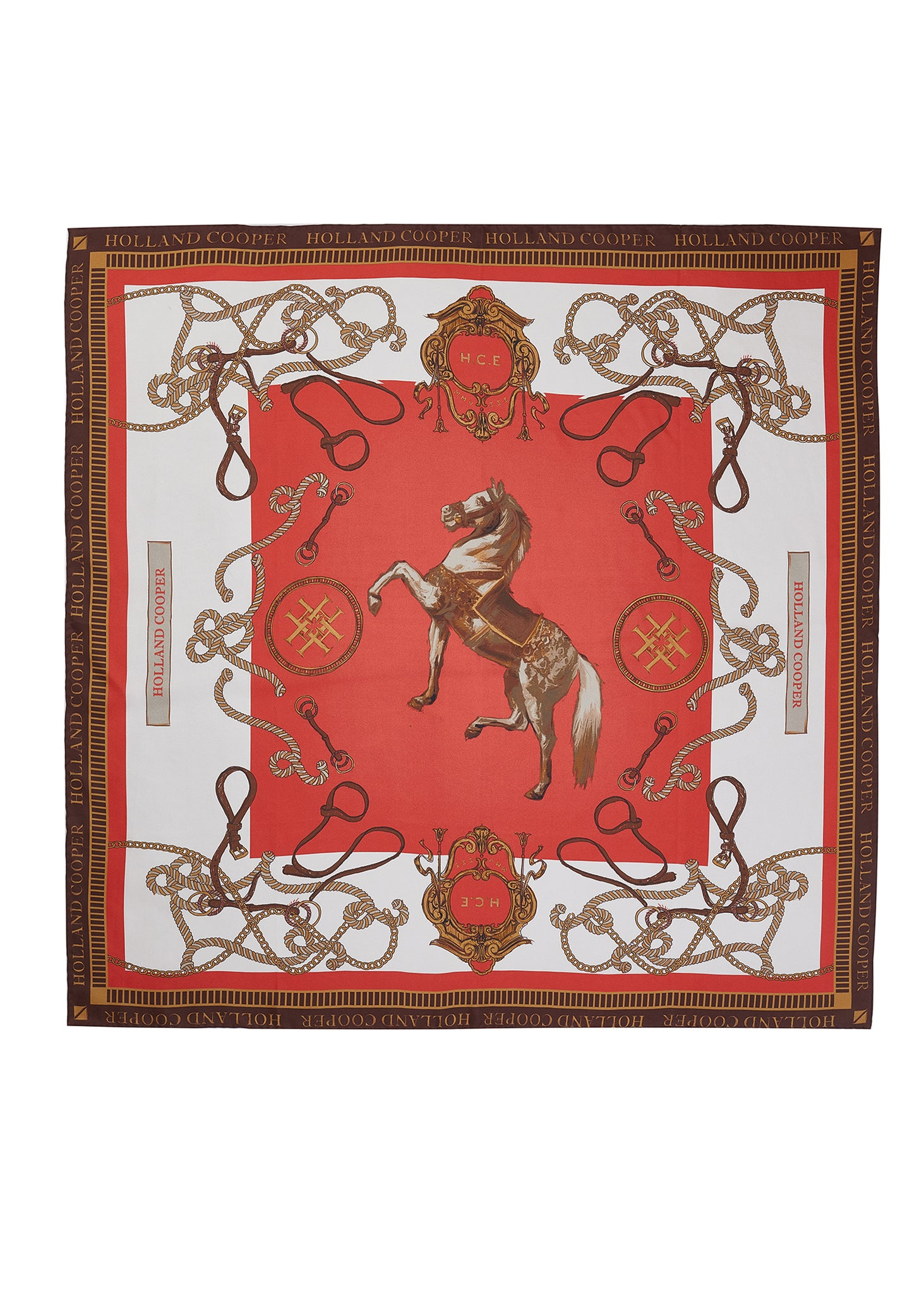 Regal Horse Silk Scarf (Sienna)