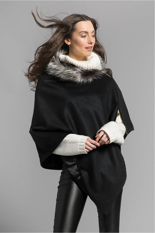 Tweed and Fur Wrap (Graphite/Silver)