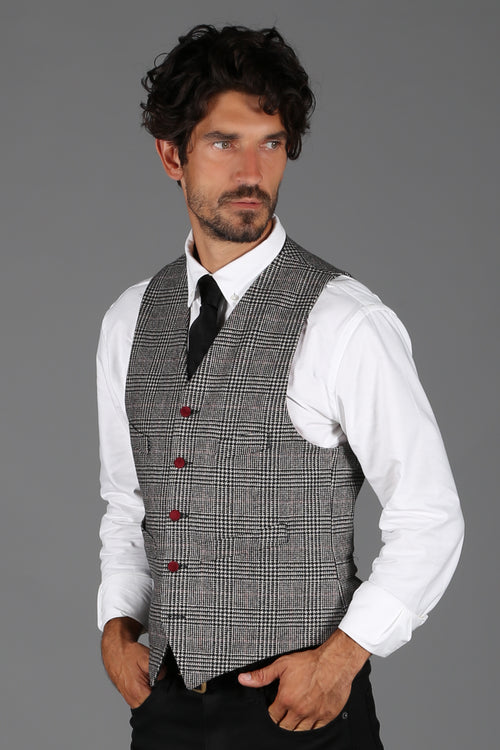 St James Waistcoat (Prince of Wales Black/Burgundy)