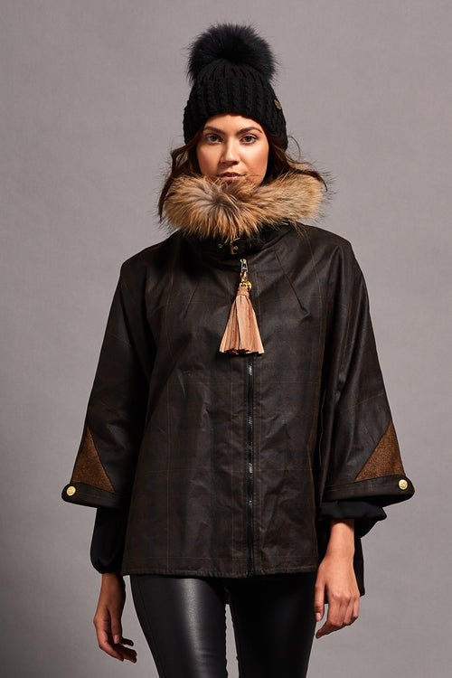 Wax & Fur Cape with Detachable Fur Collar (Ochre Tartan)