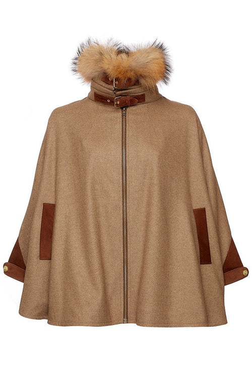 Tweed & Fur Cape with Detachable Fur Collar (Duke)