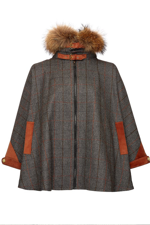 Tweed & Fur Cape with Detachable Fur Collar (Mid Blue Check)