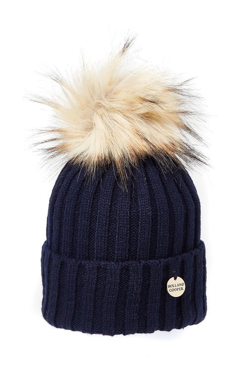 Faux Fur Ribbed Bobble Hat (Navy)