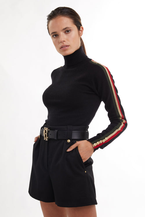 Button Knit Stripe Roll Neck (Black)