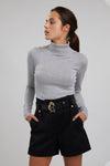 Button Knit Metallic Roll Neck (Ice Sparkle)