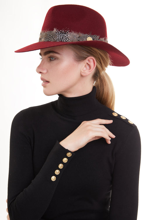 Trilby Hat with Feather Band (Russet)