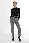 High Waisted Peg Trouser (Houndstooth)