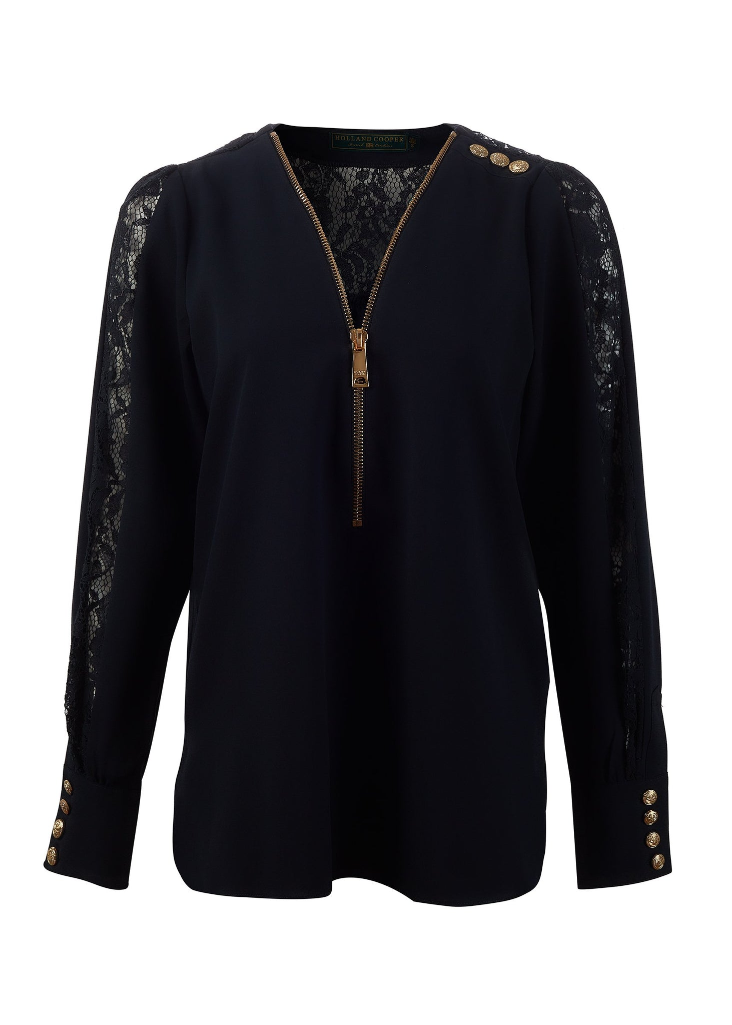 Lace Zip Shirt (Ink Navy)
