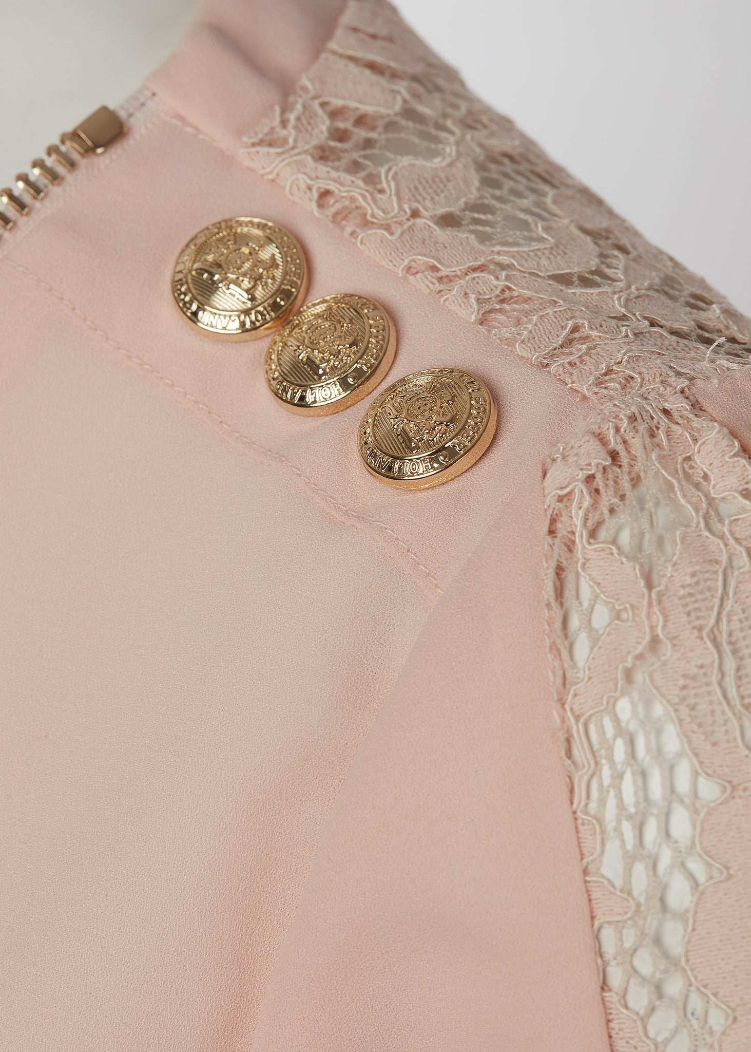 Lace Zip Shirt (Blush)