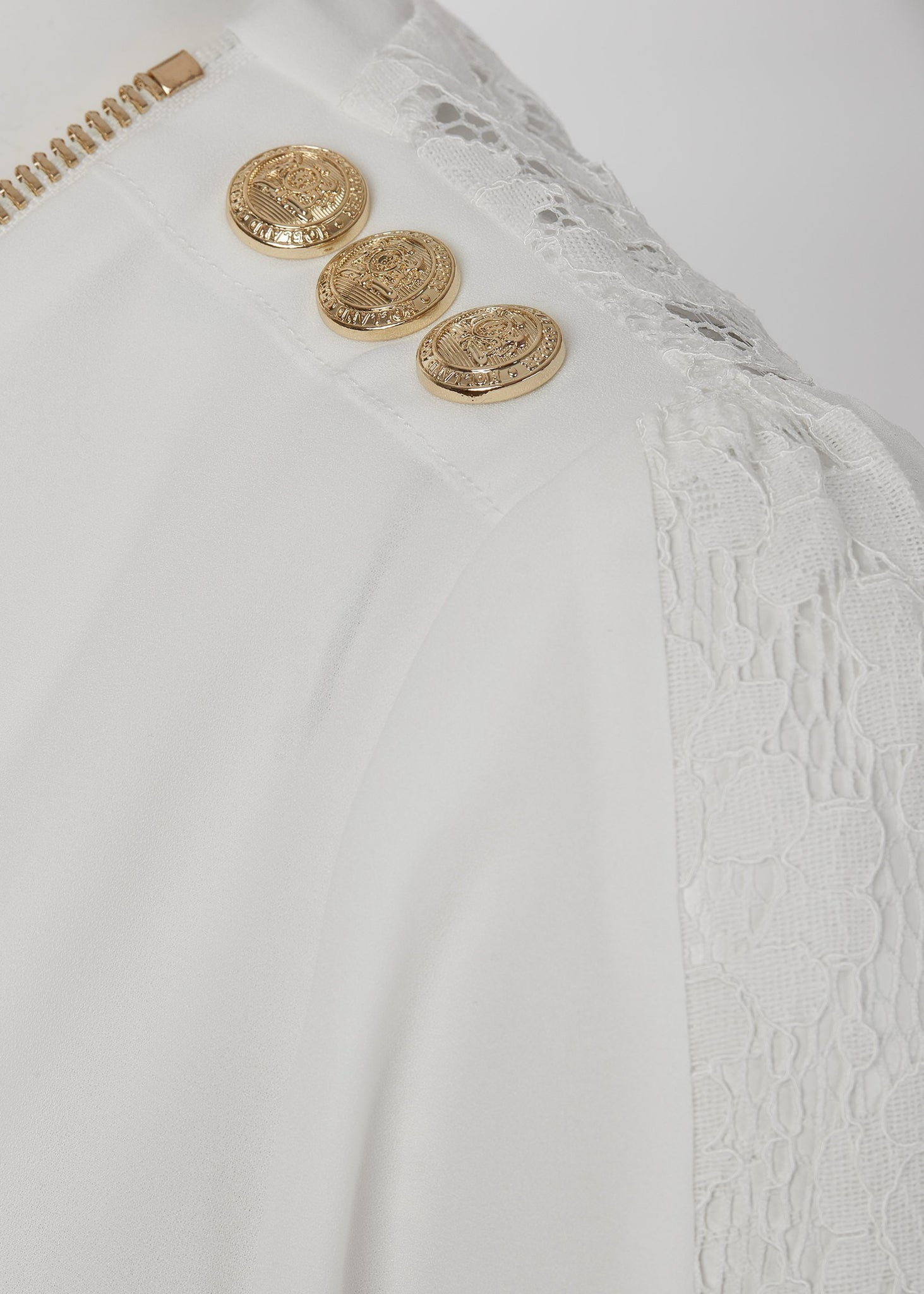 Lace Zip Shirt (White)