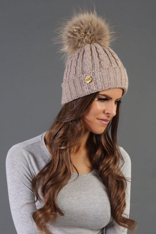 Cable Knit Fur Bobble Hat (Biscuit)