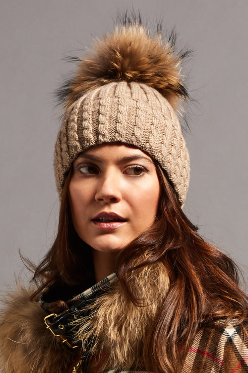 Wool Blend Fur Bobble Hat (Stone)
