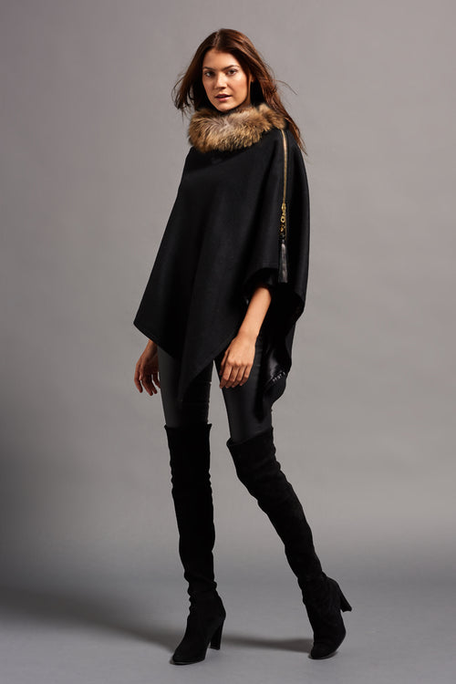 Tweed and Fur Wrap (Black/Natural)