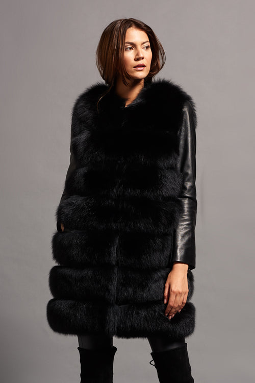 Short Fox Fur Gilet (Black)