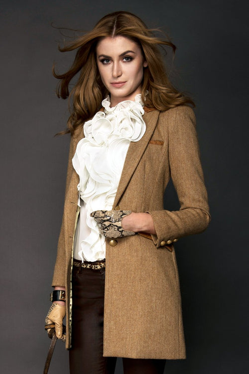 Chelsea Coat (Brown Herringbone & Ostrich)