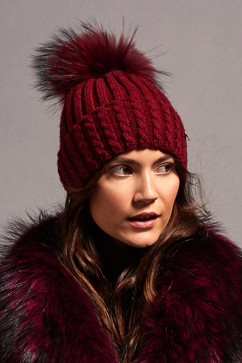 Wool Blend Fur Bobble Hat (Burgundy)
