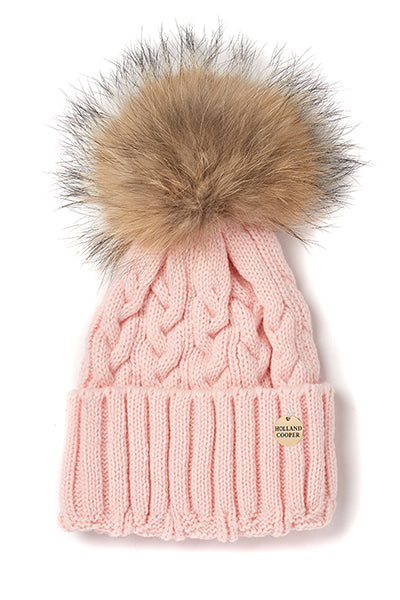 Cable Knit Fur Bobble Hat (Baby Pink)