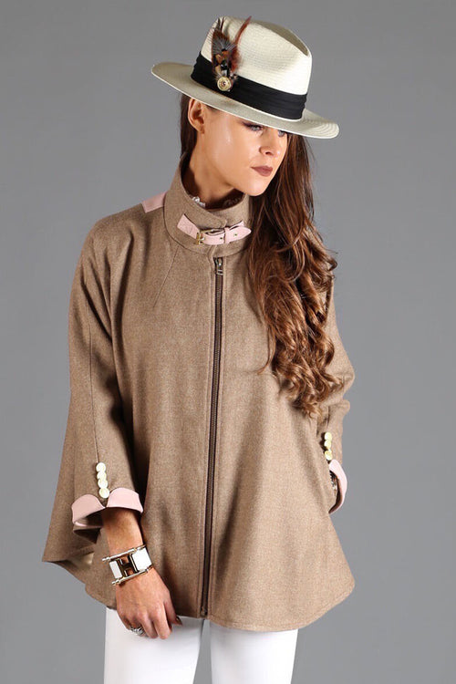 The Cooper Tweed Cape (Camel/Pink)