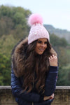 Cable Knit Fur Bobble Hat (Candy Pink)