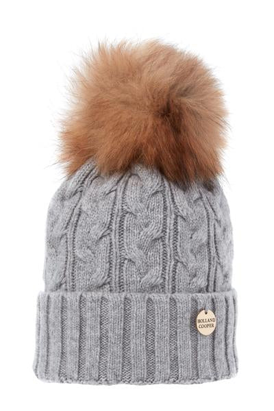 Cashmere Cable Knit Bobble Hat (Grey)