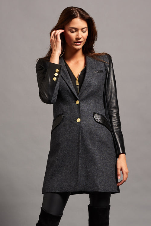 City Chelsea Coat (Charcoal & Leather)