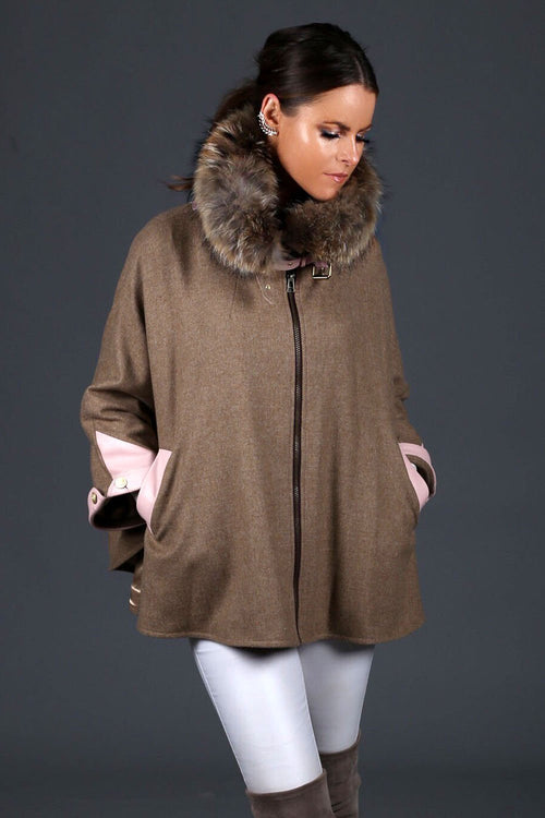 Tweed & Fur Cape with Detachable Fur Collar (Camel/Pink)