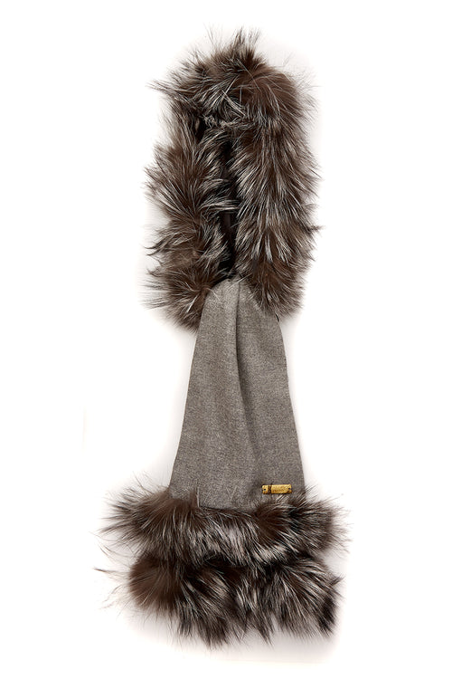 Tweed and Fur Scarf (Light Grey/Silver)