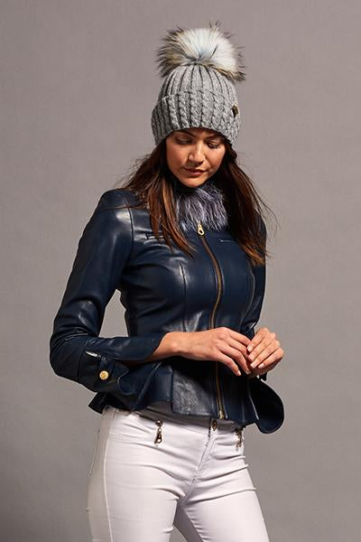 Leather Peplum Jacket (Navy/Silver)