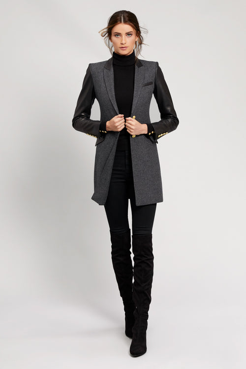 City Kempton Coat (Charcoal and Leather)