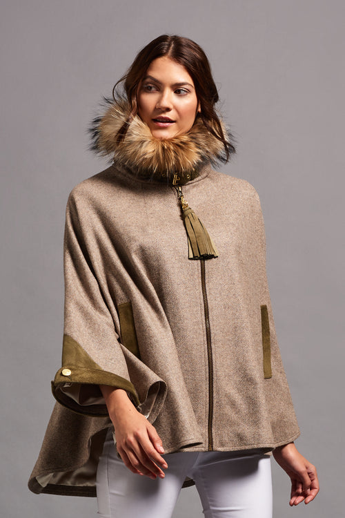 Tweed & Fur Cape with Detachable Fur Collar (Stone Herringbone)