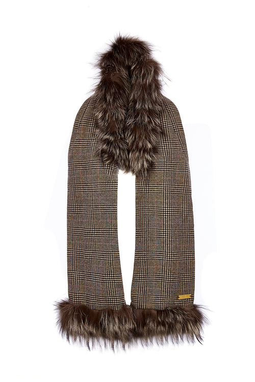 Tweed and Fur Scarf (Black Prince of Wales Check/Silver)