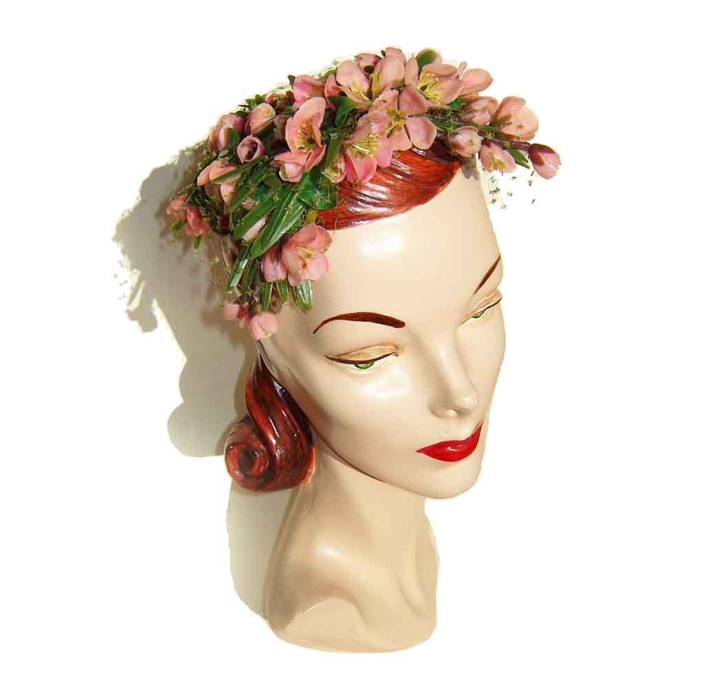 Vintage 50s Bes-Ben Hat Pink Dogwood Blossoms Floral Ladies Cocktail Cap